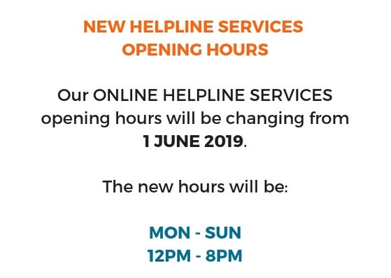 Helpline new opening hours 1 Jun 19
